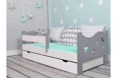 Кровать подростковая Камила с барьерами, матрасом и подкроватным ящиком и матрасом.