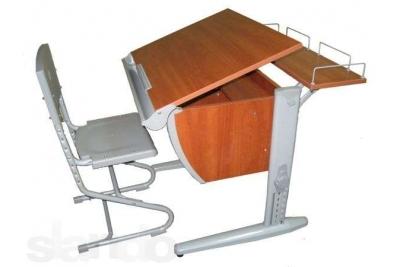 Парта трансформер ДЭМИ, стул деревянный (СУТ.14-01) (серый,яблоко).