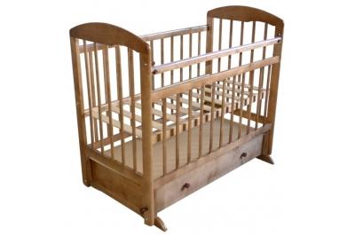 Кроватка детская Эстель 8 : поперечный маятник с ящиком, РФ Цвет: темный, орех.