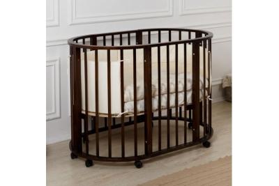 Детская круглая кроватка трансформер Gio Incanto 3 в 1 шоколад.