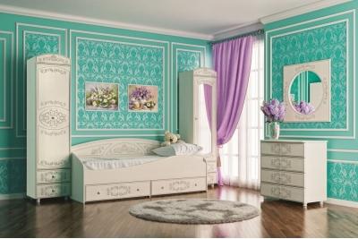 Кровать подростковая Каролина (Вудлайн кремовый/Сандал белый)