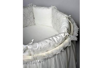 Постельное в круглую кроваку Lappetti Эстель  серебро.