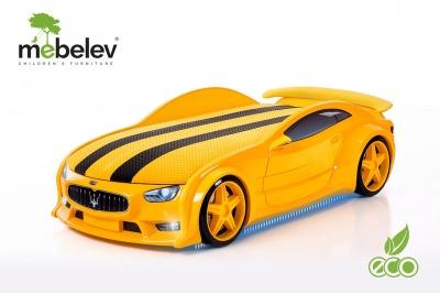 """Кровать-машина NEO """"МАЗЕРАТТИ"""" желтый."""