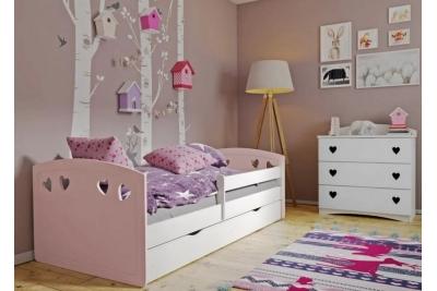 Кровать детская с бортиками  Лаура-2 розовый.