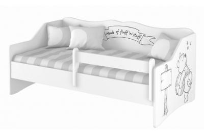 """Кровать тахта  """"Винни Пух"""" с матрасом, бортиком и подкроватным ящиком."""