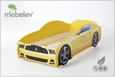 """Кровать-машина """"Мустанг-М"""" цвет желтый."""