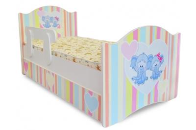 Кровать детская Слоники с подкроватным ящиком и бортиком.