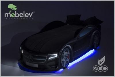 Детская кровать-машинка Мерседес-М черная с подсветкой фар.
