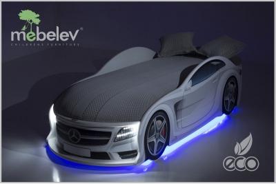 Детская кроватка-машинка Мерседес-М белая  с подсветкой фар.