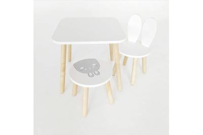 Детский столик и стульчик зайка и табурет апликация (комплект 1+2)