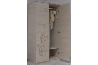 Шкаф в детскую серия Оскар Розовый мишутка 1600х800х500.