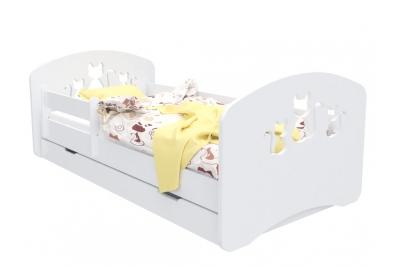 """Кровать детская """"Котята"""" с бортиками, матрасом и ящиком."""
