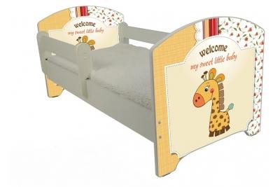 """Кровать детская от года модель Оскар """"Милашка жираф""""  с матрасом."""