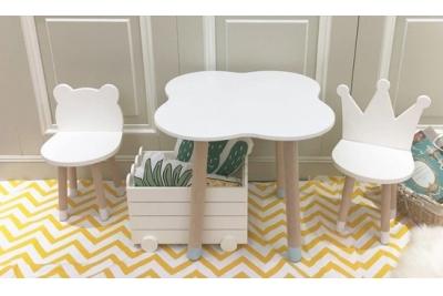 Детский стол и стул Мишка и Корона цвет белый код товара 5711