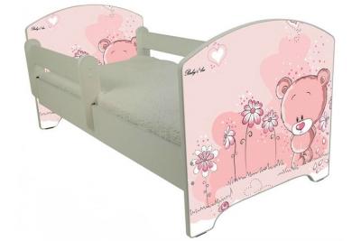 """Кровать детская от года модель Оскар """" Мишутка розовый"""" с матрасом."""