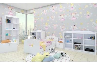 """Кровать детская """"Корона""""  с матрасом, бортиками и ящиком."""