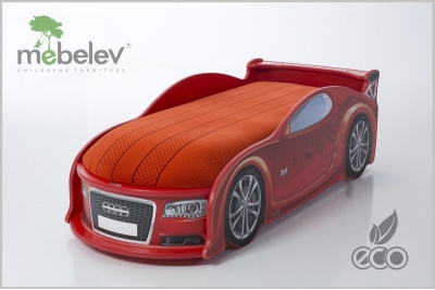 Детская кроватка-машинка Ауди A4 red с подсветкой фар.