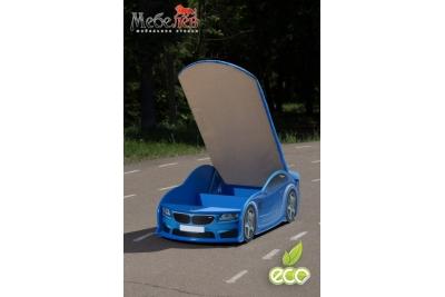 Детская кроватка-машинка БМВ-М синяя с подсветкой фар.