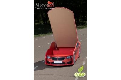 Детская кроватка-машинка БМВ-М красная с подсветкой фар.