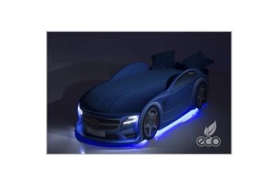 Детская кроватка-машинка Мерседес-М синяя с подсветкой фар.