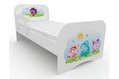 """Кровать детская с бортиками от 3-х лет """"Смешарики-2 """" с матрасом."""