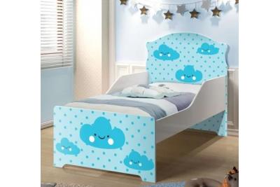 """Кровать подростковая Оскар XL """"голубые облака"""" с матрасом."""