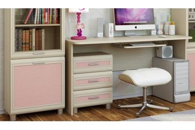 Детская комната Ксюша 3, цвет дуб беленый с розовыми вставками.