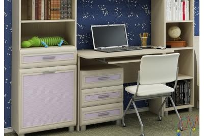 Детская комната Ксюша 4, цвет дуб беленый с сиреневыми вставками.