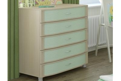 Детская комната Валерия-2, цвет дуб беленый с зелеными вставками.