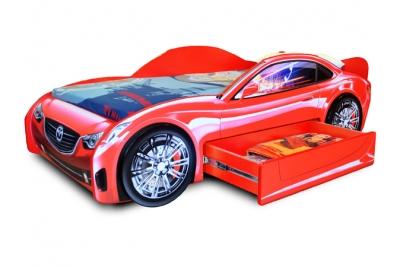 Кровать-машина Лидер красный.