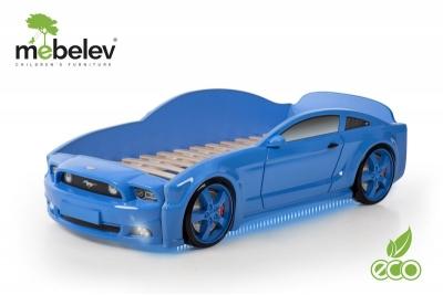 """Кровать-машина детская """"Мустанг"""" 3D синяя."""