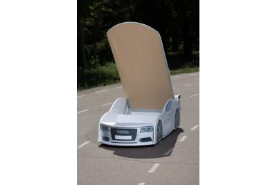 Детская кроватка-машинка Ауди A4 white с подсветкой фар.