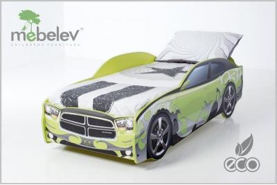 """Кровать-машина """"Додж-М"""" цвет зеленый."""