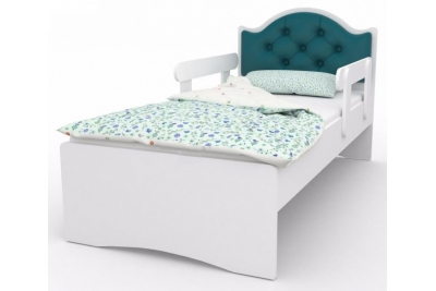 """Кровать детская с бортиками от 3-х лет """"Оскар Люкс"""" каретная стяжка с бортиками и матрасом."""