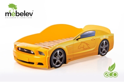 """Детская кроватка-машинка Мустанг-М PLUS"""" с подсветкой фар (желтый)."""