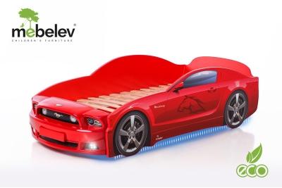 """Детская кроватка-машинка Мустанг-М PLUS"""" с подсветкой фар (красный)."""