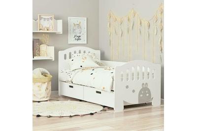 Кровать детская от 3х лет с бортиком апликация Зайка с ящикми.