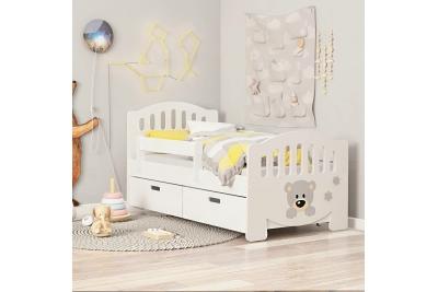 Кровать детская от 3х лет с бортиком апликация мишутка с ящиками.