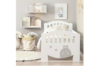 Кровать детская от 3х лет с бортиком апликация Зайка.