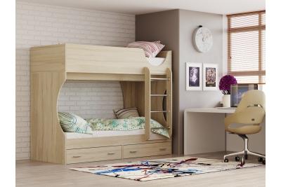 Кровать двухъярусная Д-2 дуб сонома