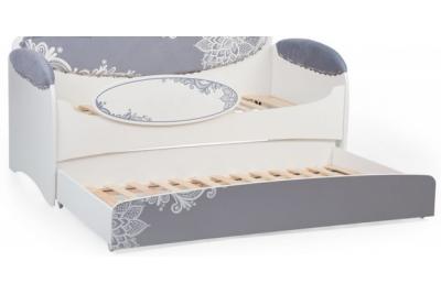 Кровать детская Mia Шиншила с бортиком и дополнительныйм спальным местом.