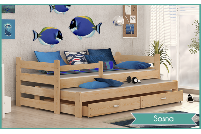 Кровать выдвижная 2-х уровневая детская Ben  (с матрасами) цвет ольха, сосна.