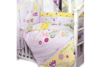 Комплект в кроватку Cool Car 7 пр. розовый.