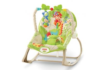 """Детский шезлонг Fisher-Price CBF52 """"Веселые обезьянки из тропического леса"""" ."""