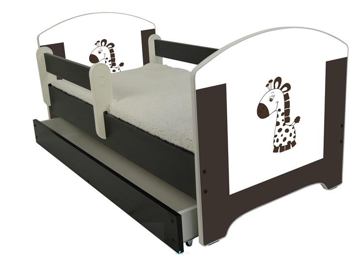 """Кровать детская от 3-х лет Oskar Х"""" Шоколадный жираф"""" с бортиками , ящиком и матрасом."""