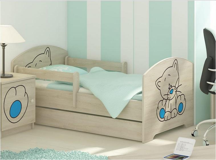 """Кровать детская с бортиками Oskar коллекция """"Томас""""  с ящиком и матрасом (дуб сонома)."""