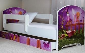 """Кровать подростковая с перилами Oskar """"Колокольчик"""" c ящиком."""
