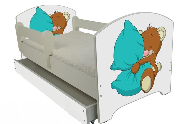 """Кровать детская от года модель Оскар  """"Мишка с подушкой"""" с ящиком и матрасом."""