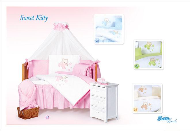 Комплект в кроватку Tuttolina Sweet Kitty 28 (29 голубой, 30 салатовый, 31 беж) ) (7 предметов)
