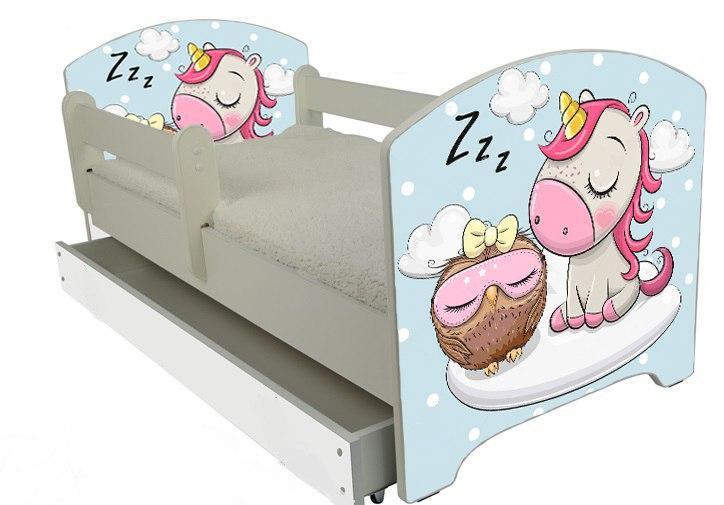 Кровать детская с перилами модель Оскар коллекция Unicorn с матрасом.